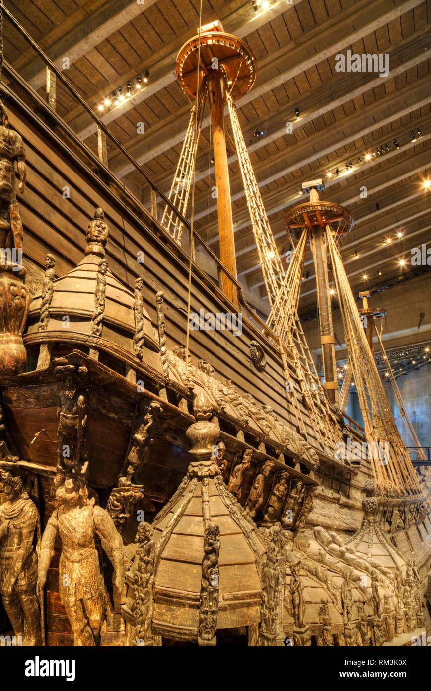 17th Century Warship, Vasa Maritime Museum (Vasamseet), Djurgarden Island, Stockholm, Sweden - Stock Image