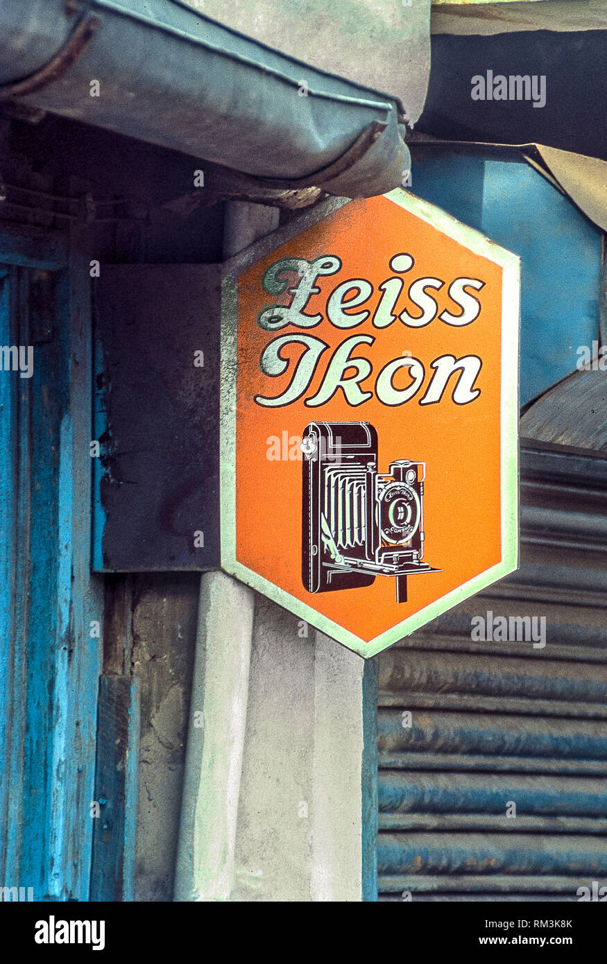Zeiss Ikon camera vintage vitreous enamel advertising sign board, India, Asia - Stock Image