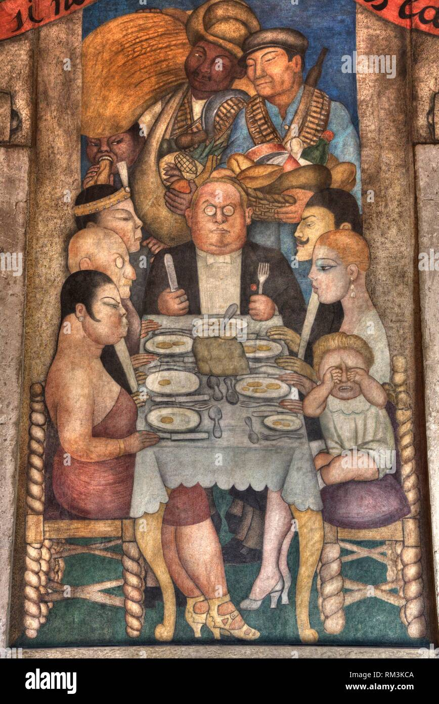 Wall Mural, ''The Capitalist Dinner'', Painted by Diego Rivera,1928, Secretariate of Education Building, Mexico City, Mexico - Stock Image