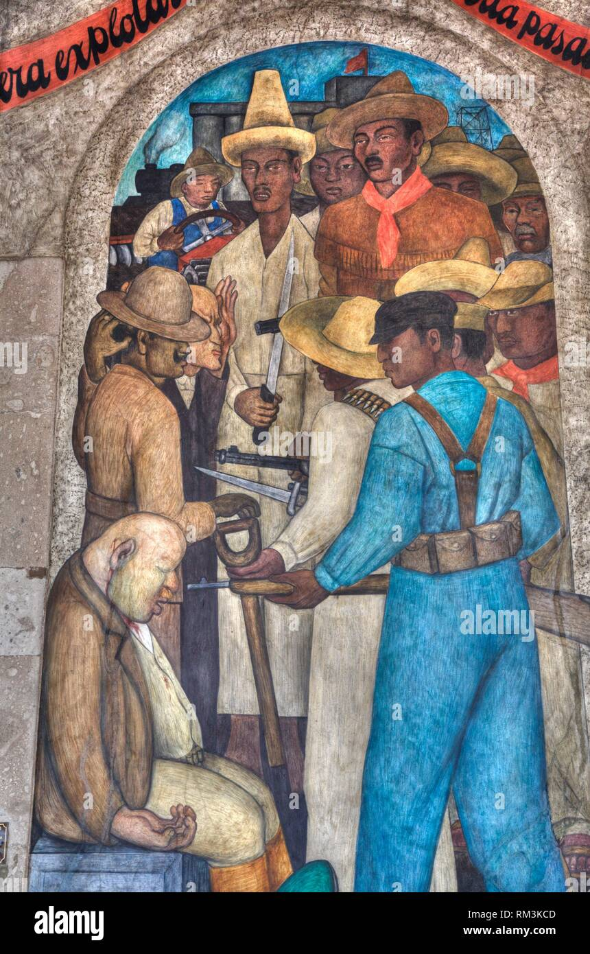 Wall Mural, ''Death of the Capitalist'', Painted by Diego Rivera,1928, Secretariate of Education Building, Mexico City, Mexico - Stock Image