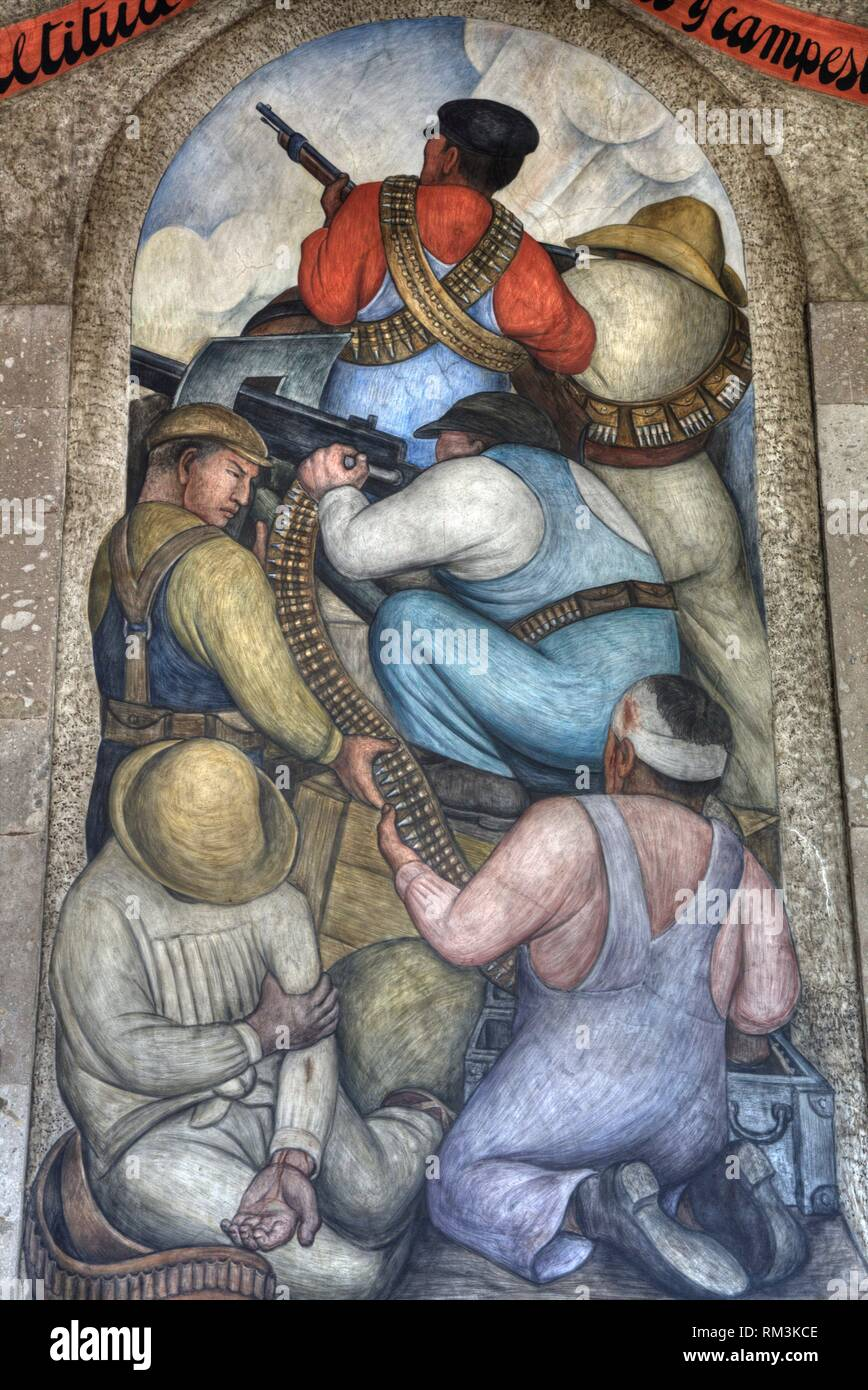 Wall Mural, ''In the Trench'', Painted by Diego Rivera, 1928, Secretariate of Education Building, Mexico City, Mexico - Stock Image