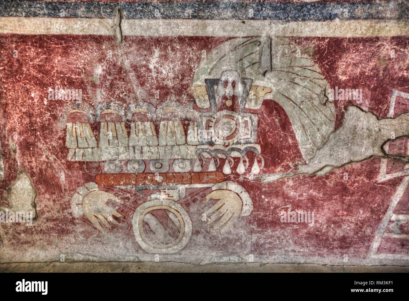 Wall Mural of the ''Healing Hands'', Palace of Tetitla, Teotihuacan Archaeological Zone, State of Mexico, Mexico - Stock Image