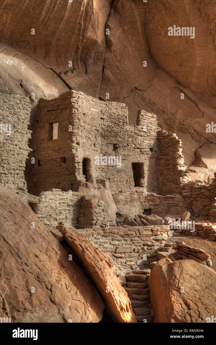 River House Ruin, Ancestral Puebloan Cliff Dwelling, 900-1300 AD, Shash Jaa National Monument, Utah, USA Stock Photo