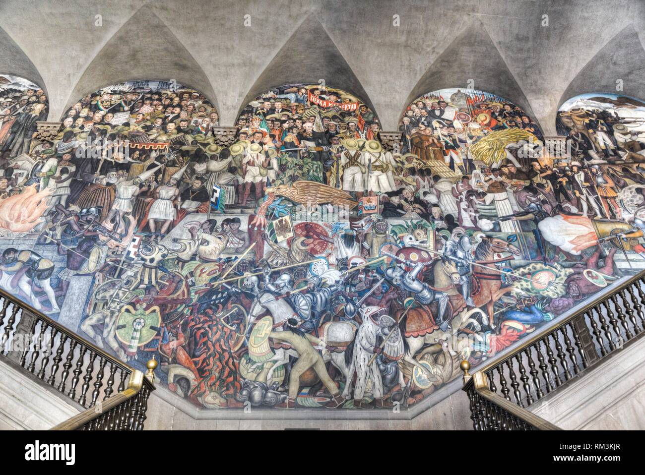 "Stairway Murals, """"The History of Mexico"""", Painted by Diego Rivera, 1929-31, Palacio Nacional de Mexico, Mexico City, Mexico Stock Photo"