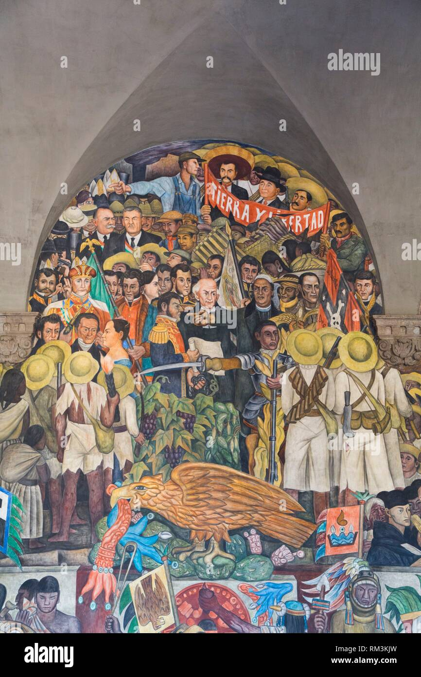 "Stairway Murals, """"The History of Mexico"""", Painted by Diego Rivera, 1929-31, Palacio Nacional de Mexico, Mexico City, Mexico Stock Photo"
