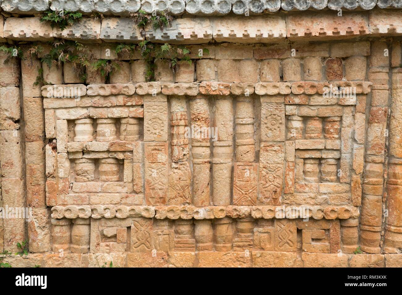 Carved Colums near Arch, Labna Archaeological Site, Mayan Ruins, Puuc Style, Yucatan, Mexico - Stock Image
