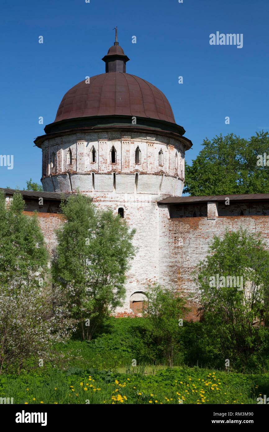 Tower and Walls, Boris and Gleb Monastery, Borisoglebsky, Golden Ring, Yaroslavl Oblast, Russia - Stock Image