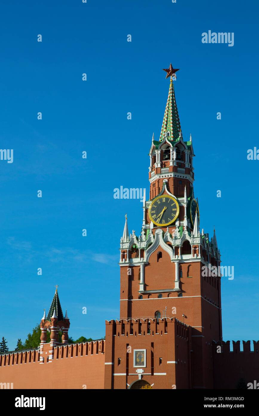 Saviour's Tower, Kremlin, UNESCO World Heritage Site, Moscow, Russia - Stock Image