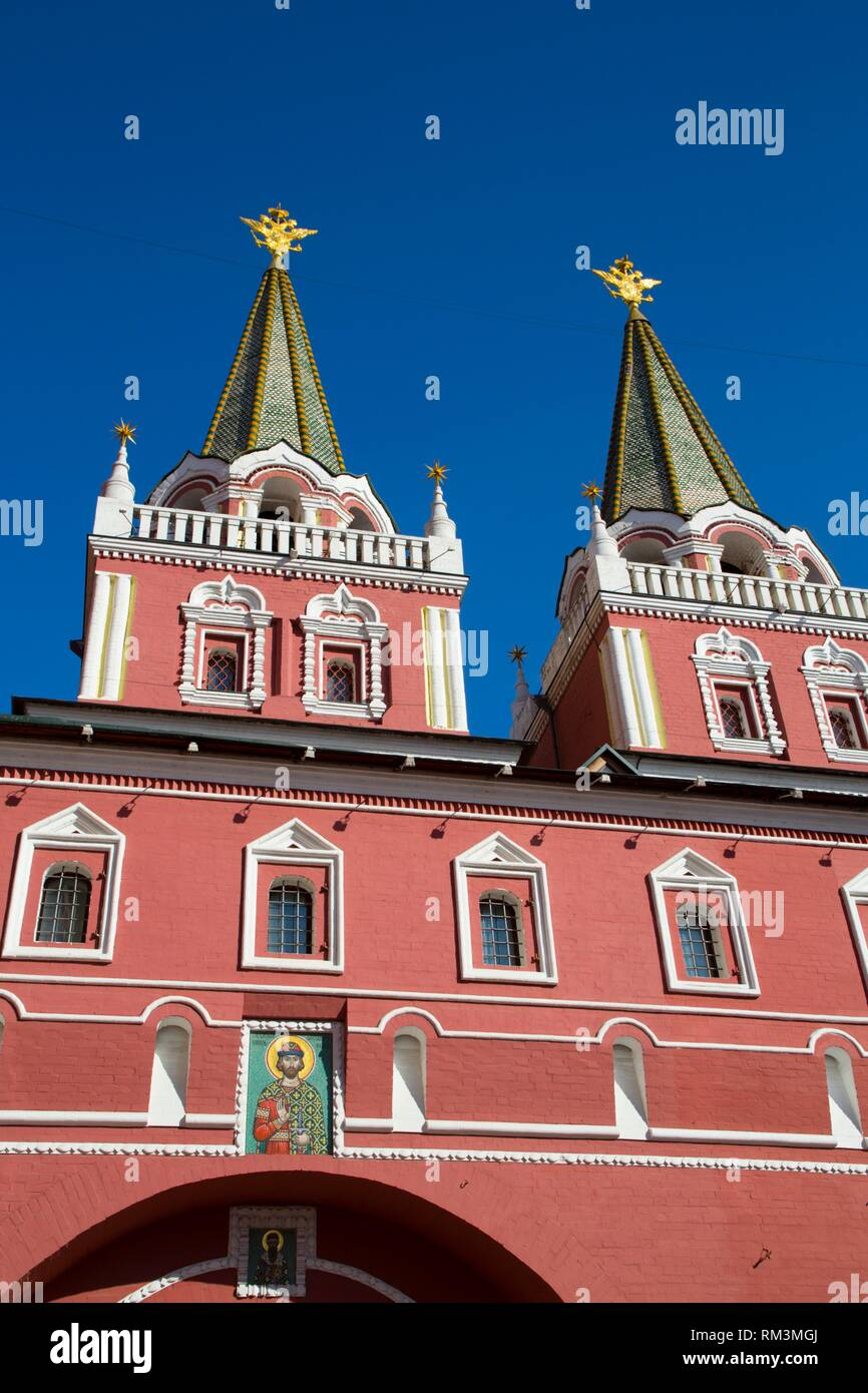 Resurrection Gates, Red Square, UNESCO World Heritage Site, Moscow, Russia - Stock Image