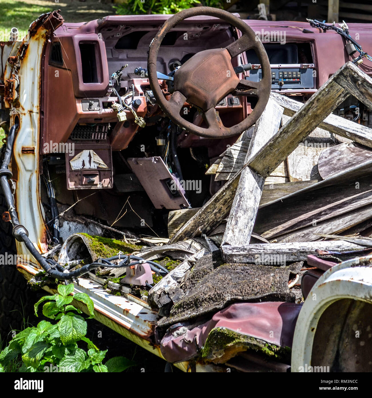A decrepit Nissan SUV and miscellaneous wooden debris, Kauai, Hawaii Stock Photo