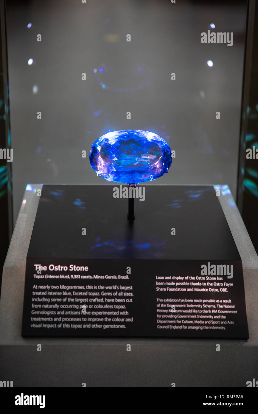 The Ostro Stone, on display in The Natural History Museum, London, Uk Stock Photo
