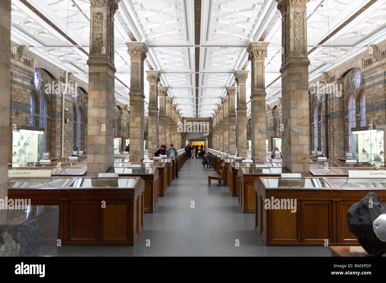 The minerals room at The Natural History Museum, London, Uk - Stock Image