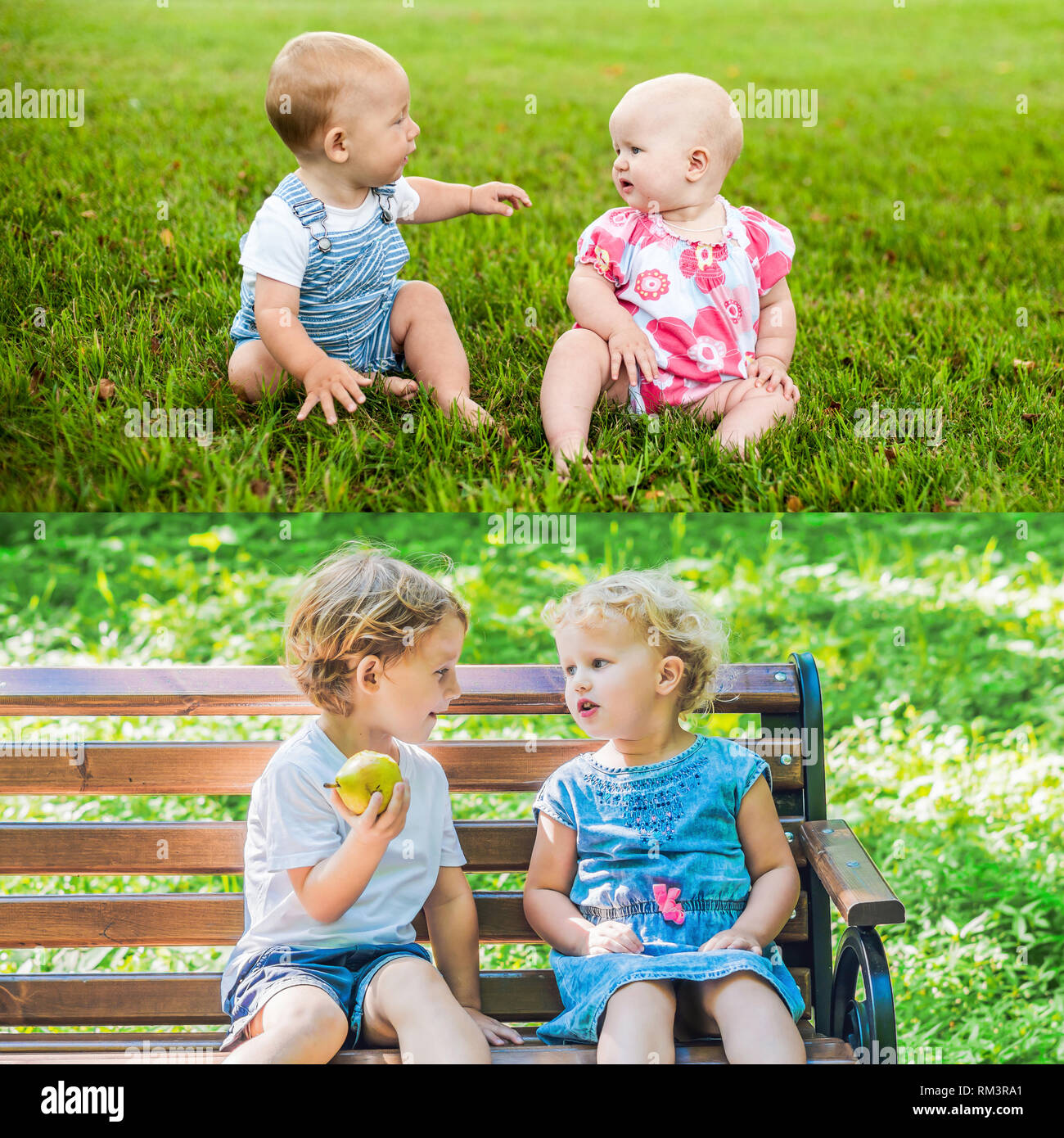 Friends have grown. Children are friends from 1 year old. Now they are 4 years old. Two happy baby boy sitting and interact, talk, look at each other - Stock Image