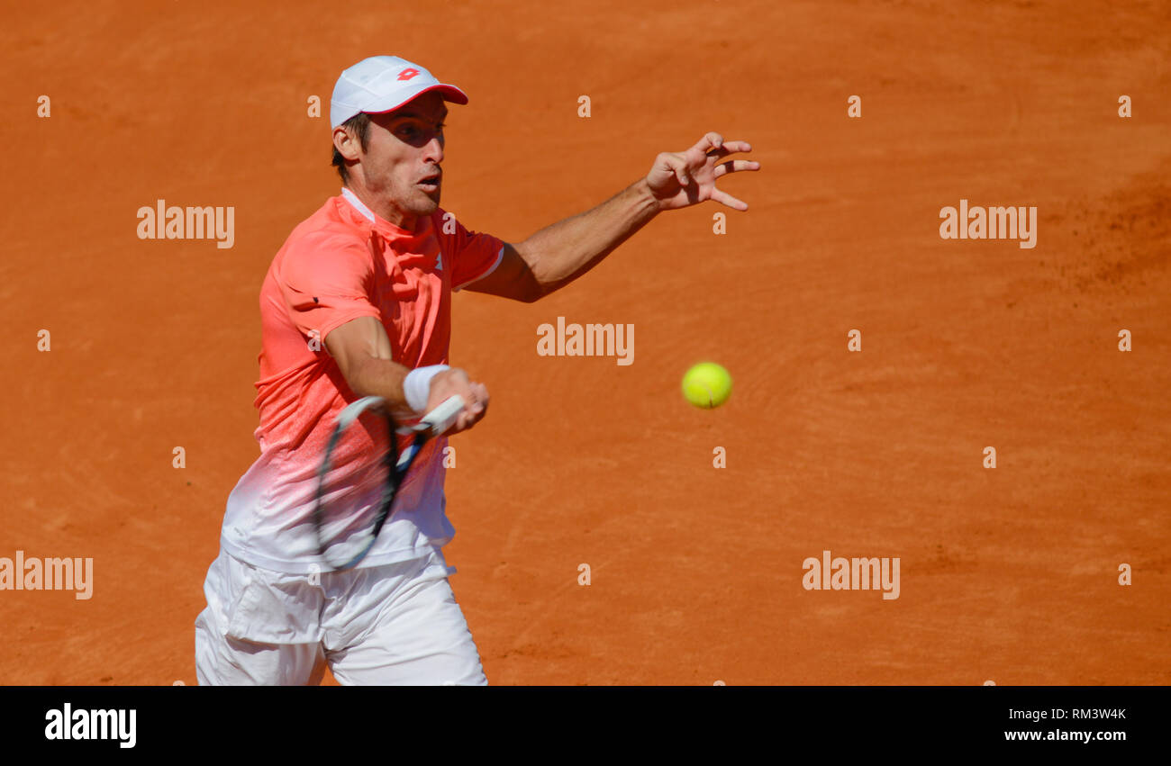 Buenos Aires, Argentina. 12th Feb 2019. Leonardo Mayer (Argentina) defeated Dusan Lajovic (Serbia) and advances to the second round of the Argentina Open, an ATP 250 tennis tournament Credit: Mariano Garcia/Alamy Live News - Stock Image