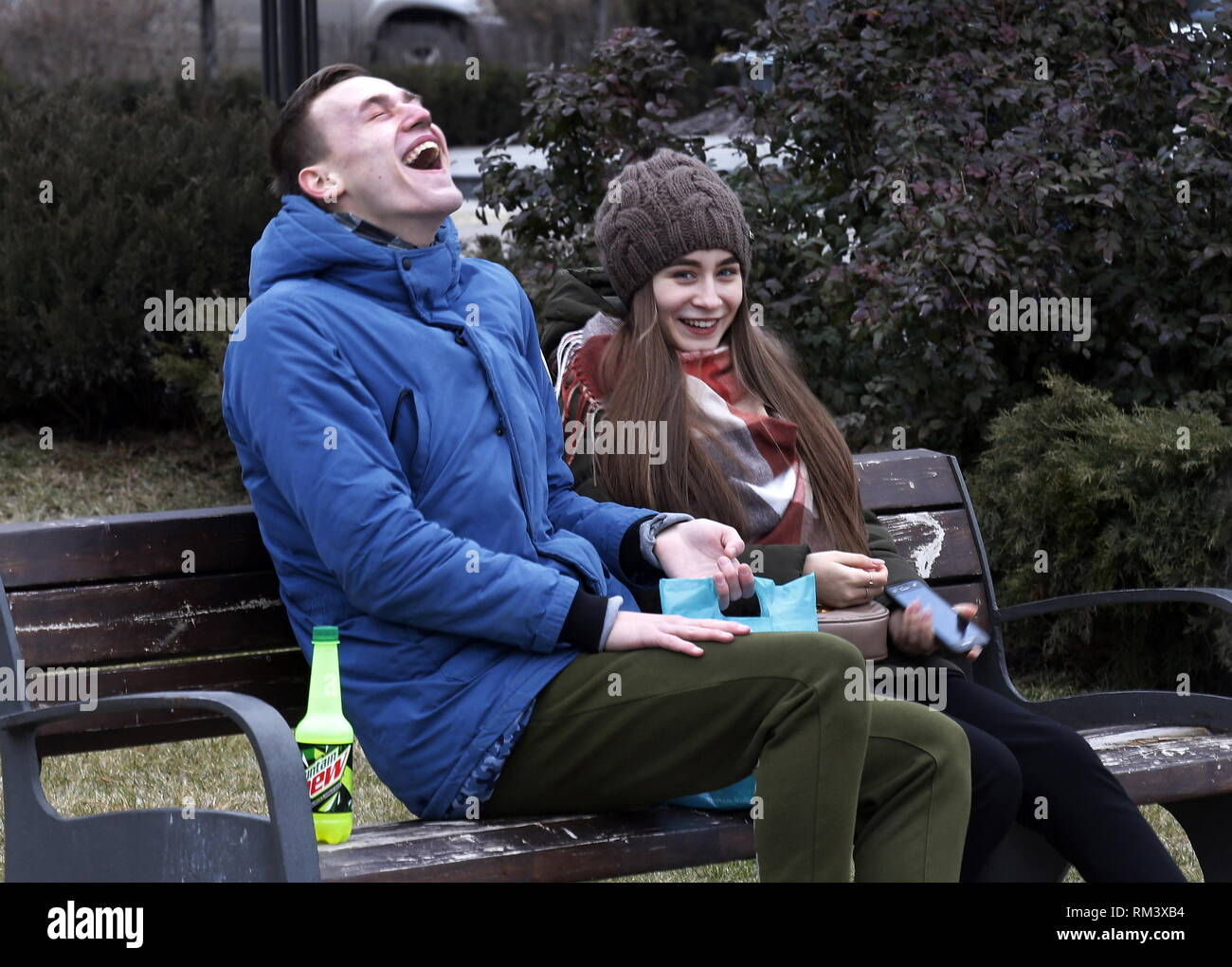 ROSTOV-ON-DON, RUSSIA - FEBRUARY 10, 2019: A young couple seen in a street. Valery Matytsin/TASS - Stock Image