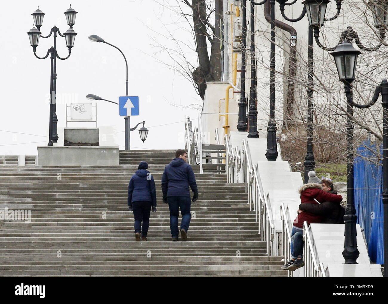 ROSTOV-ON-DON, RUSSIA - FEBRUARY 10, 2019: Couples seen in a street. Valery Matytsin/TASS - Stock Image