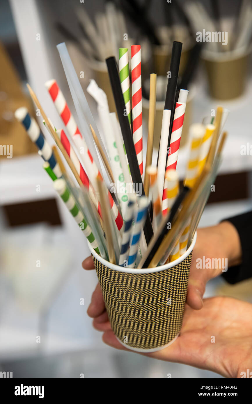 13 February 2019, Bavaria, Nürnberg: Straws made from renewable raw
