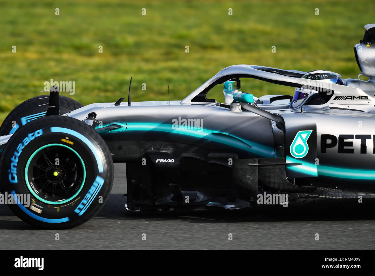 Silverstone, UK. 13th Feb, 2019. The new racing car W10 of the Formula 1 racing team AMG Petronas Motorsport during test drives on the race track. (to dpa 'Maiden voyage of the new Formula 1 Mercedes: 'Starting from zero'') Credit: Mercedes-AMG Petronas Motorsport/MediaPortal Daimler AG/dpa - ATTENTION: Only for editorial use in connection with the current reporting and only with complete mention of the above credit/dpa/Alamy Live News - Stock Image