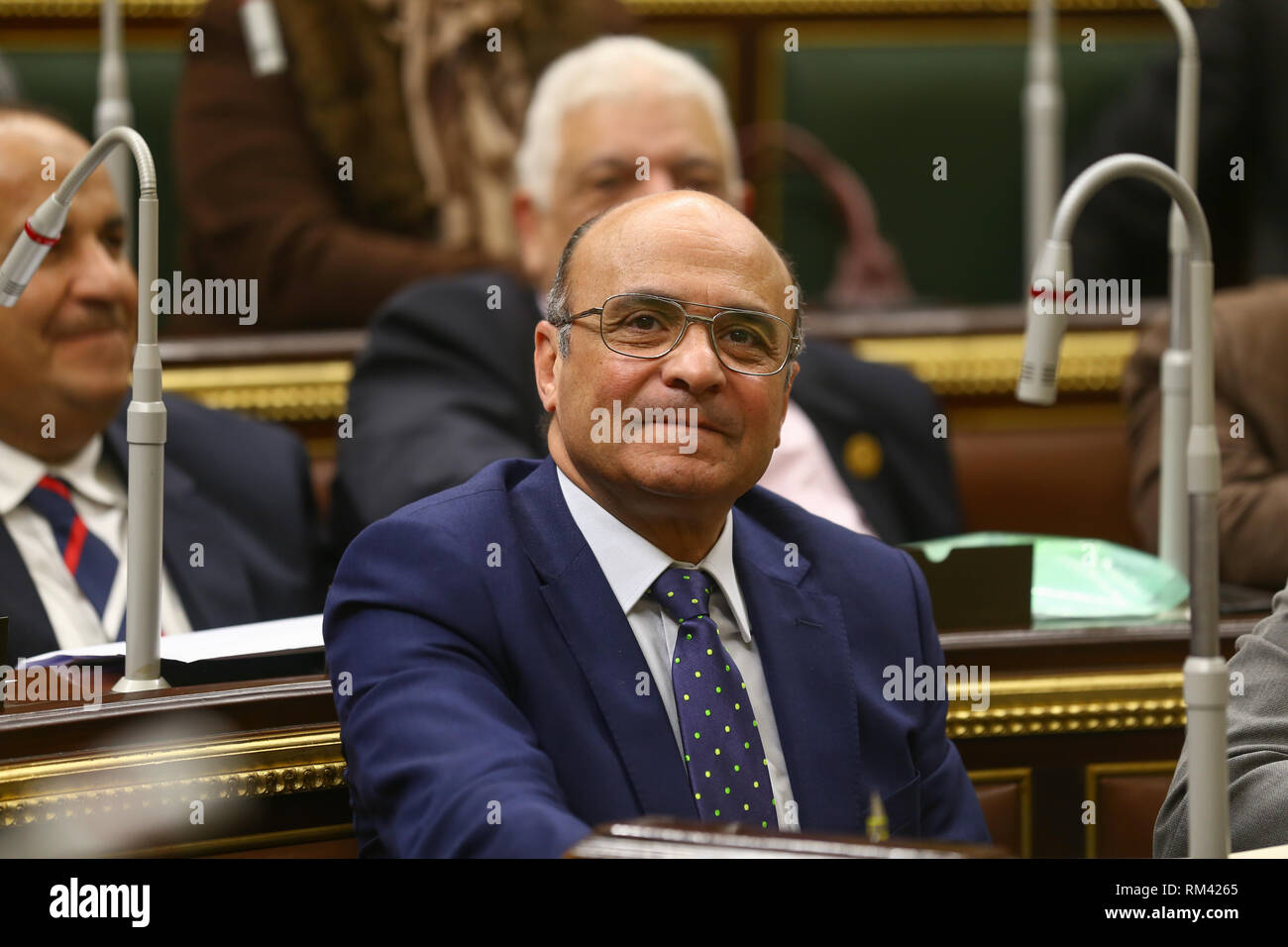 13 February 2019, Egypt, Cairo: Egypt's Minister of Legal and Parliamentary Affairs Omar Marwan attends a plenary session of the Egyptian Parliament held to deliberate the proposed constitutional amendments that will increase the country's President term in office from four to six years. The Parliament members will vote later on the amendments before referring it to the Legislative and Constitutional Affairs Committee to be discussed in detail and to be finalized before being referred to the president to be put up for a public vote in a national referendum. Photo: Lobna Tarek/dpa - Stock Image