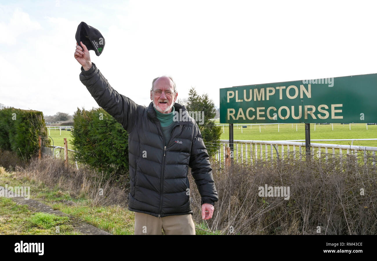 Brighton, UK. 13th Feb, 2019. Punter Pat Bolton enjoys racing being back again at Plumpton Racecourse in Sussex after the recent suspension of horse racing throughout Britain due to an outbreak of equine flu Credit: Simon Dack/Alamy Live News - Stock Image