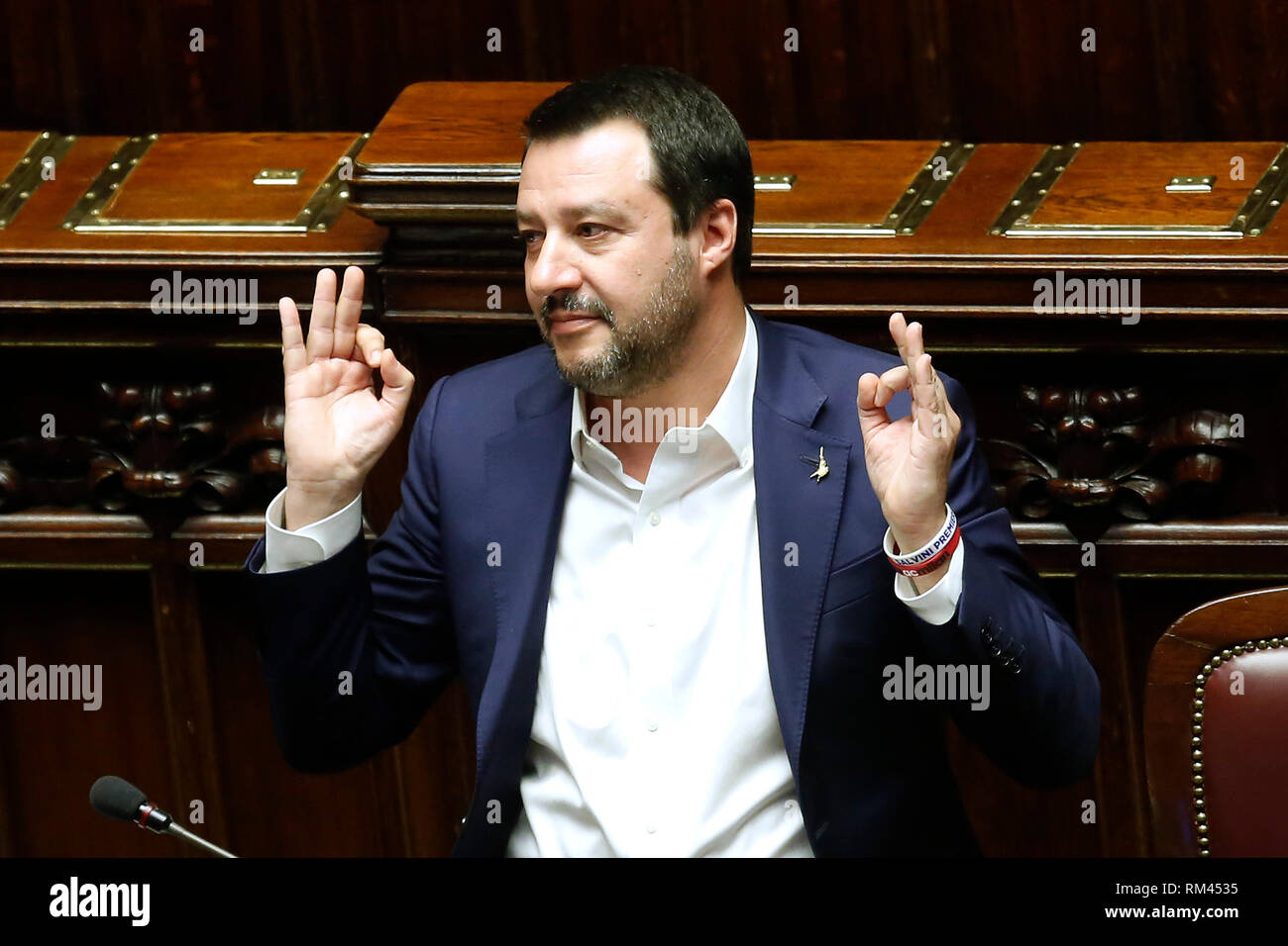 Rome, Italy. 13th Feb, 2019. Matteo Salvini in yoga position Rome February 13th 2019. Lower Chamber. Ministers of Internal Affairs, of Labour and of Health at the Question Time at the Chamber of Deputies. Foto Samantha Zucchi Insidefoto Credit: insidefoto srl/Alamy Live News - Stock Image