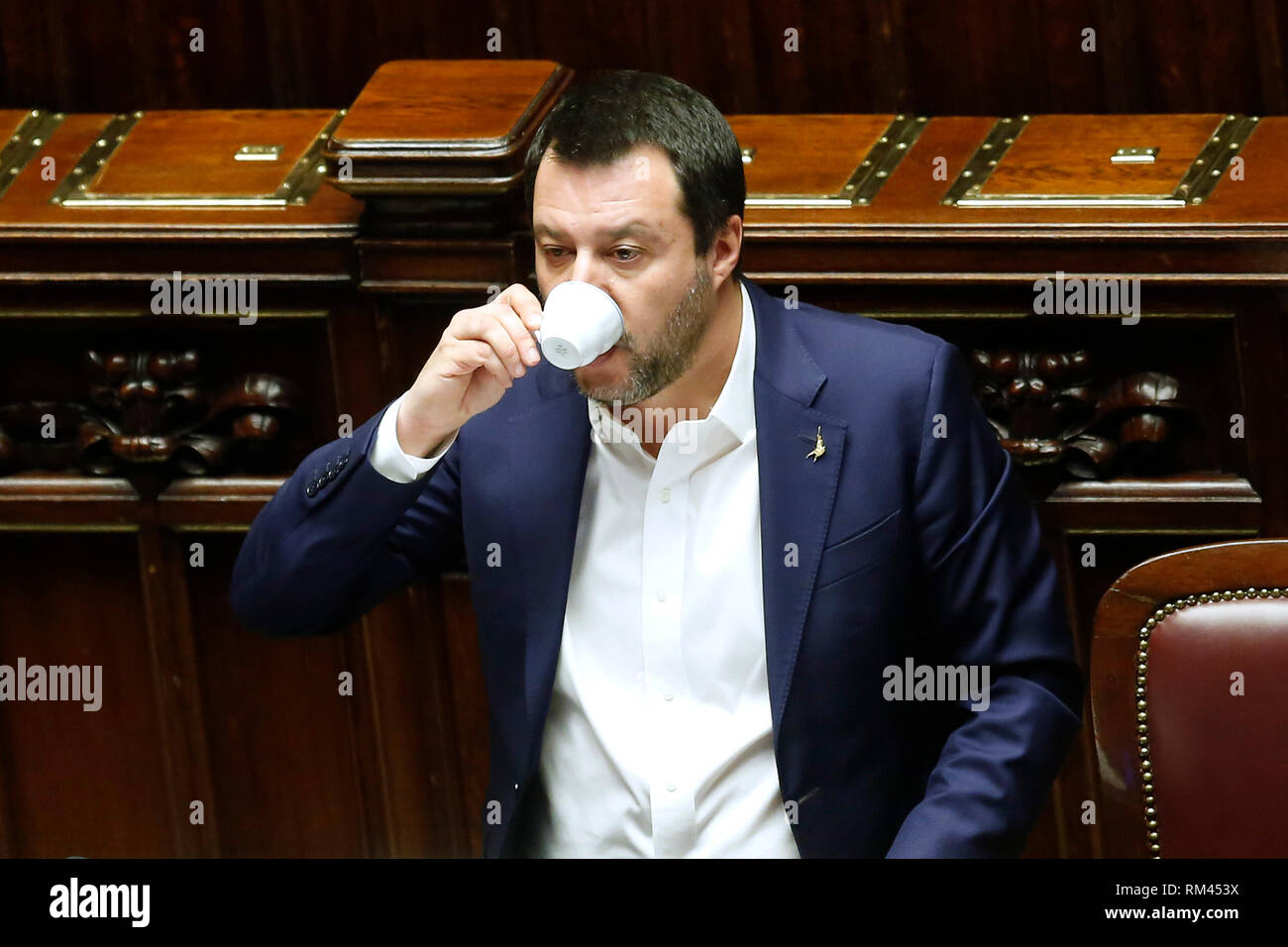 Rome, Italy. 13th Feb, 2019. Matteo Salvini drinking a coffee Rome February 13th 2019. Lower Chamber. Ministers of Internal Affairs, of Labour and of Health at the Question Time at the Chamber of Deputies. Foto Samantha Zucchi Insidefoto Credit: insidefoto srl/Alamy Live News - Stock Image