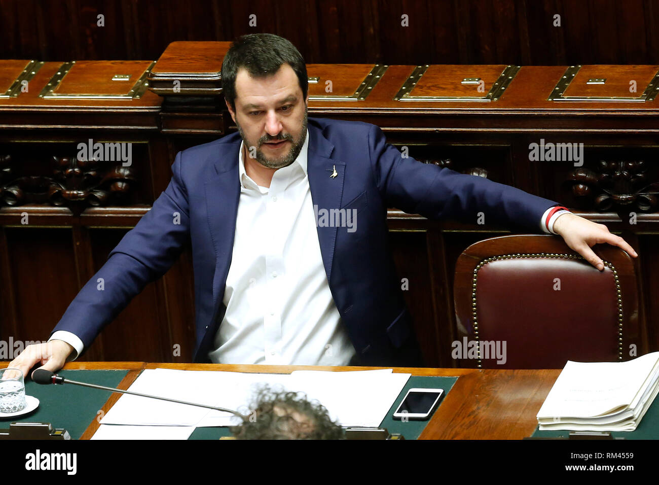 Rome, Italy. 13th Feb, 2019. Matteo Salvini Rome February 13th 2019. Lower Chamber. Ministers of Internal Affairs, of Labour and of Health at the Question Time at the Chamber of Deputies. Foto Samantha Zucchi Insidefoto Credit: insidefoto srl/Alamy Live News - Stock Image