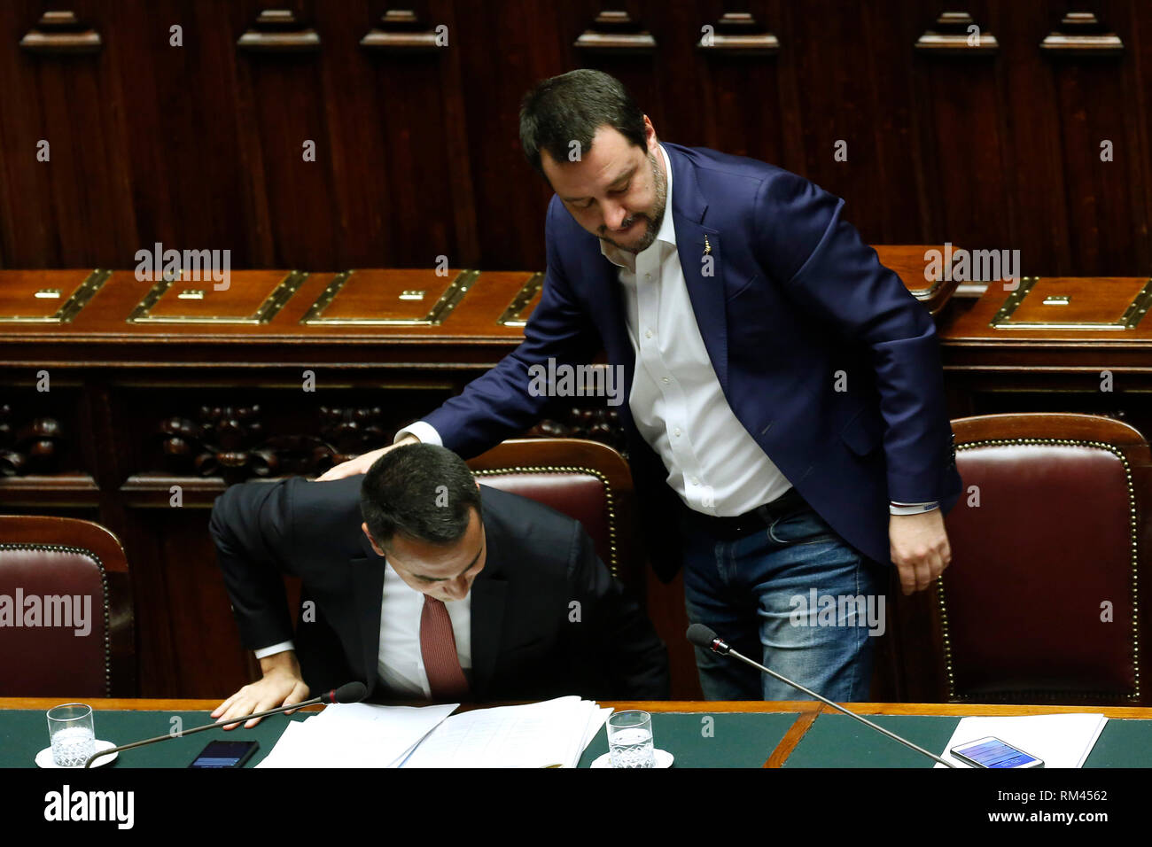 Rome, Italy. 13th Feb, 2019. Luigi Di Maio and Matteo Salvini Rome February 13th 2019. Lower Chamber. Ministers of Internal Affairs, of Labour and of Health at the Question Time at the Chamber of Deputies. Foto Samantha Zucchi Insidefoto Credit: insidefoto srl/Alamy Live News - Stock Image