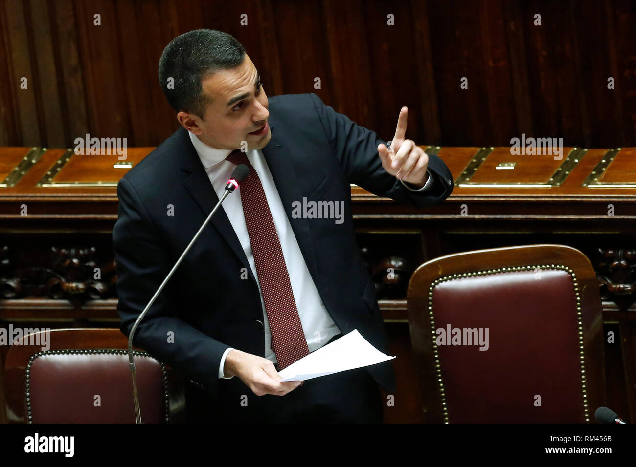 Rome, Italy. 13th Feb, 2019. Luigi Di Maio Rome February 13th 2019. Lower Chamber. Ministers of Internal Affairs, of Labour and of Health at the Question Time at the Chamber of Deputies. Foto Samantha Zucchi Insidefoto Credit: insidefoto srl/Alamy Live News - Stock Image