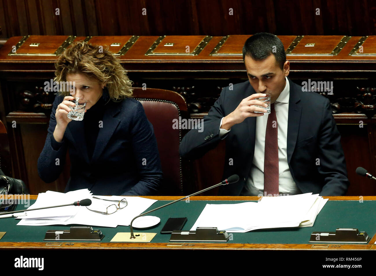 Rome, Italy. 13th Feb, 2019. Giulia Grillo and Luigi Di Maio Rome February 13th 2019. Lower Chamber. Ministers of Internal Affairs, of Labour and of Health at the Question Time at the Chamber of Deputies. Foto Samantha Zucchi Insidefoto Credit: insidefoto srl/Alamy Live News - Stock Image