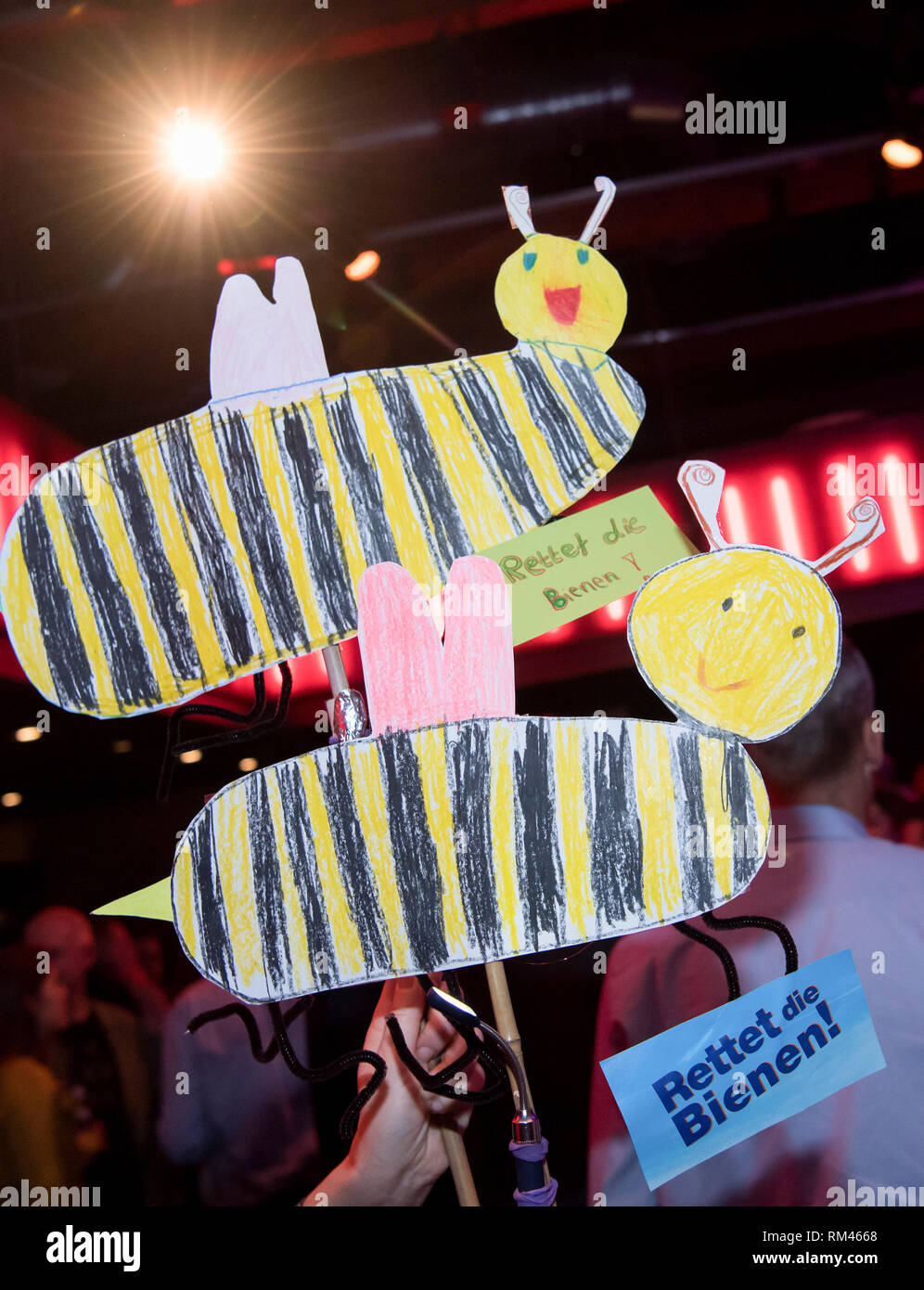 Bayernweit, Germany. 13th Feb, 2019. During the closing event of the petition for a referendum, bees that have been made into bees will be given a high regard for biodiversity. According to the initiators, more than ten percent of all eligible voters in Bavaria had already signed up in the town halls well before the end of the registration period. Credit: Sven Hoppe/dpa/Alamy Live News - Stock Image
