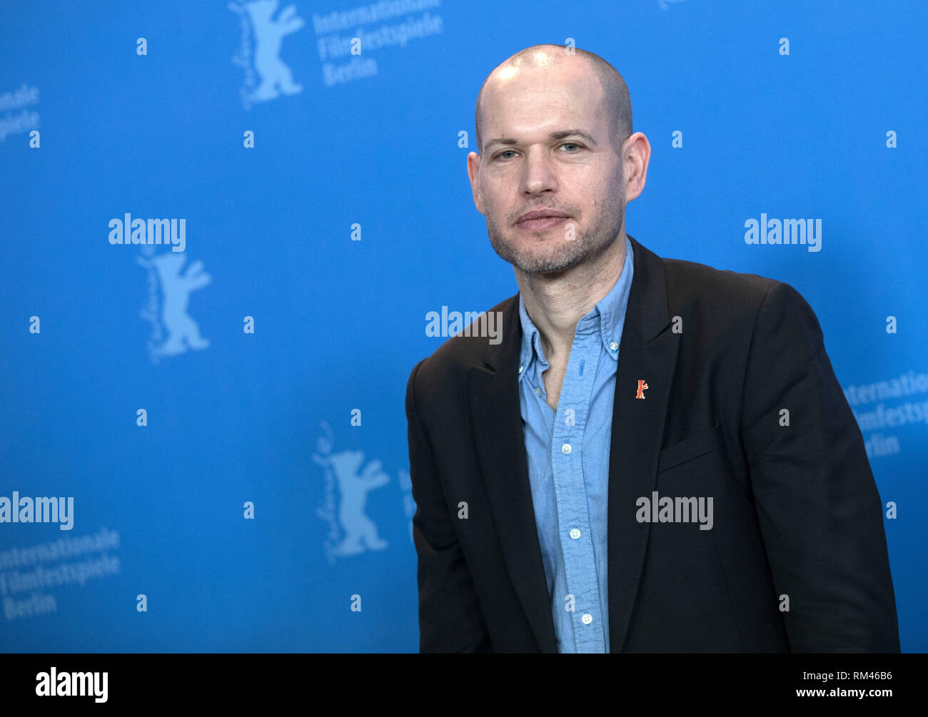 """Berlin, Germany. 13th Feb, 2019. 69th Berlinale: Photocall competition """"Synonymes"""" (Synonyms): Nadav Lapid, director. Credit: Jörg Carstensen/dpa/Alamy Live News Stock Photo"""