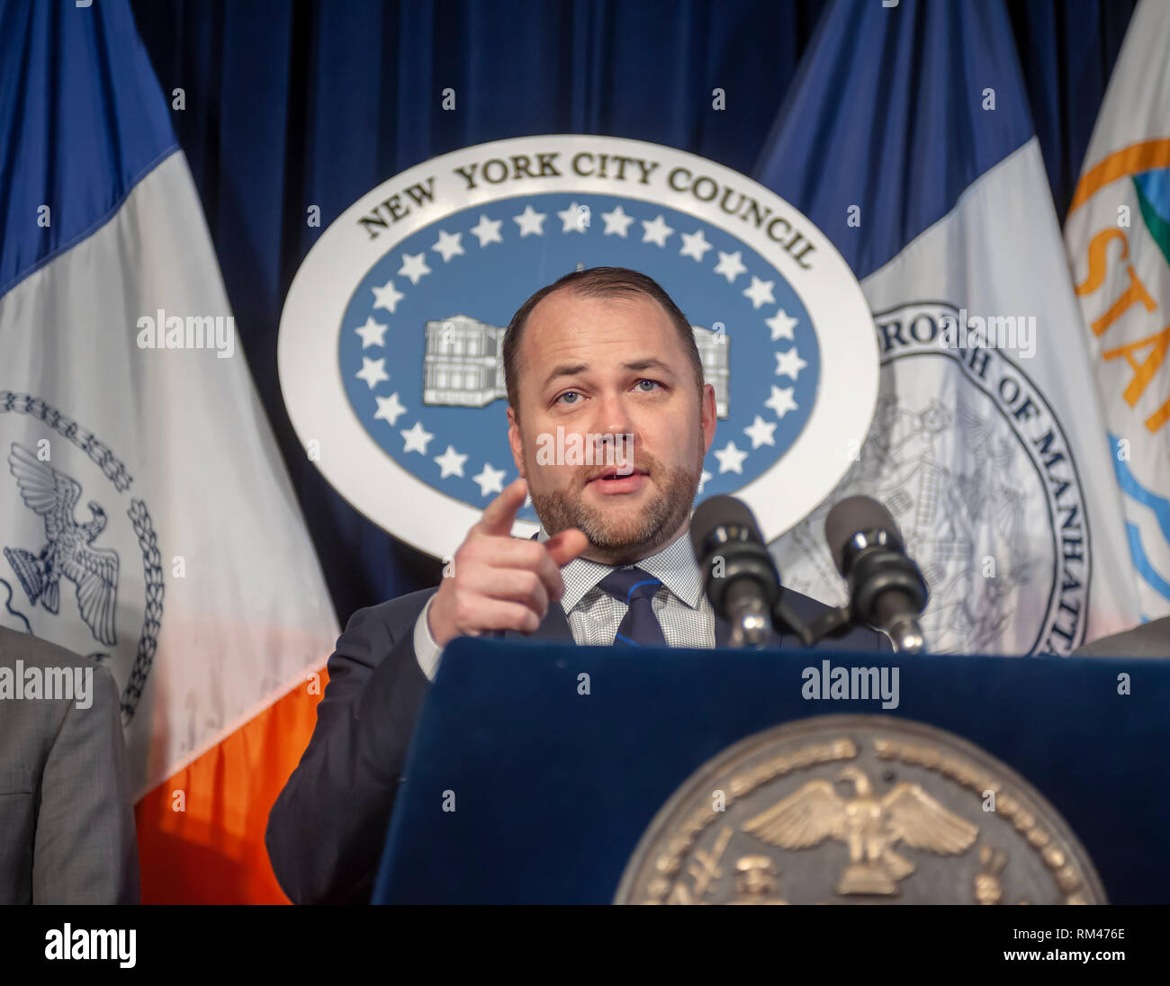 New York, USA. 13th Feb, 2019. New York City Council Speaker and Acting Public Advocate Corey Johnson and members of the New York City Council hold a news conference on Wednesday, February 13, 2019 in the Red Room of New York City Hall. Besides speaking about pending legislation Johnson spoke about allegedly homophobic remarks made by Council Member Ruben Diaz Sr. and the Speaker's plan to dissolve the FHV Committee of which Diaz is the chairman. ( © Richard B. Levine) Credit: Richard Levine/Alamy Live News - Stock Image