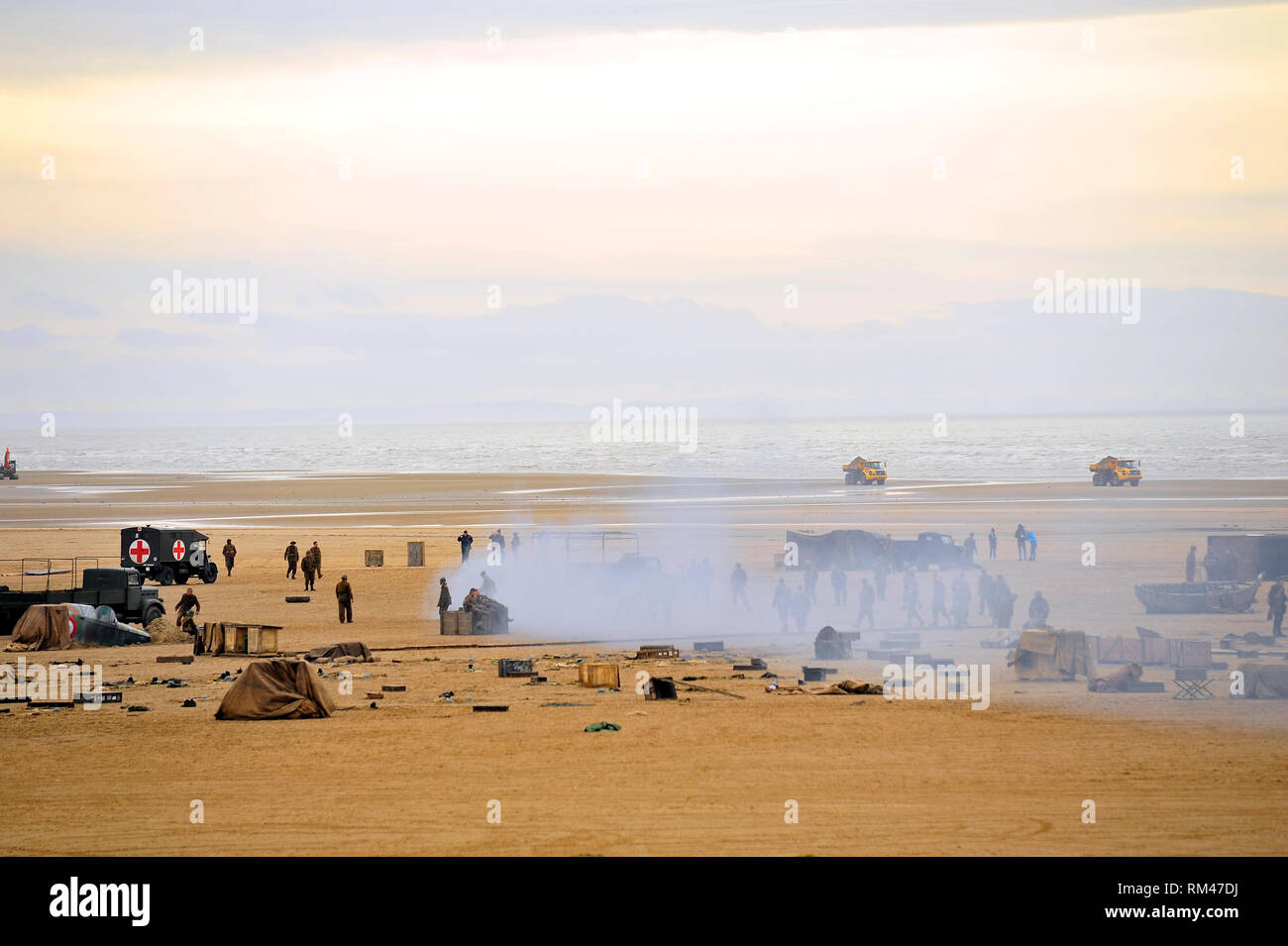 St Annes,Lancashire,UK. 13th Febuary 2019. BBC television War drama World on Fire,is filmed on St Annes beach,Lancashire. Production staff,actors and vehicles were gathered on the wide expanse of beach for the making of the epic story set during the second World War. Kev Walsh/Alamy Live News - Stock Image