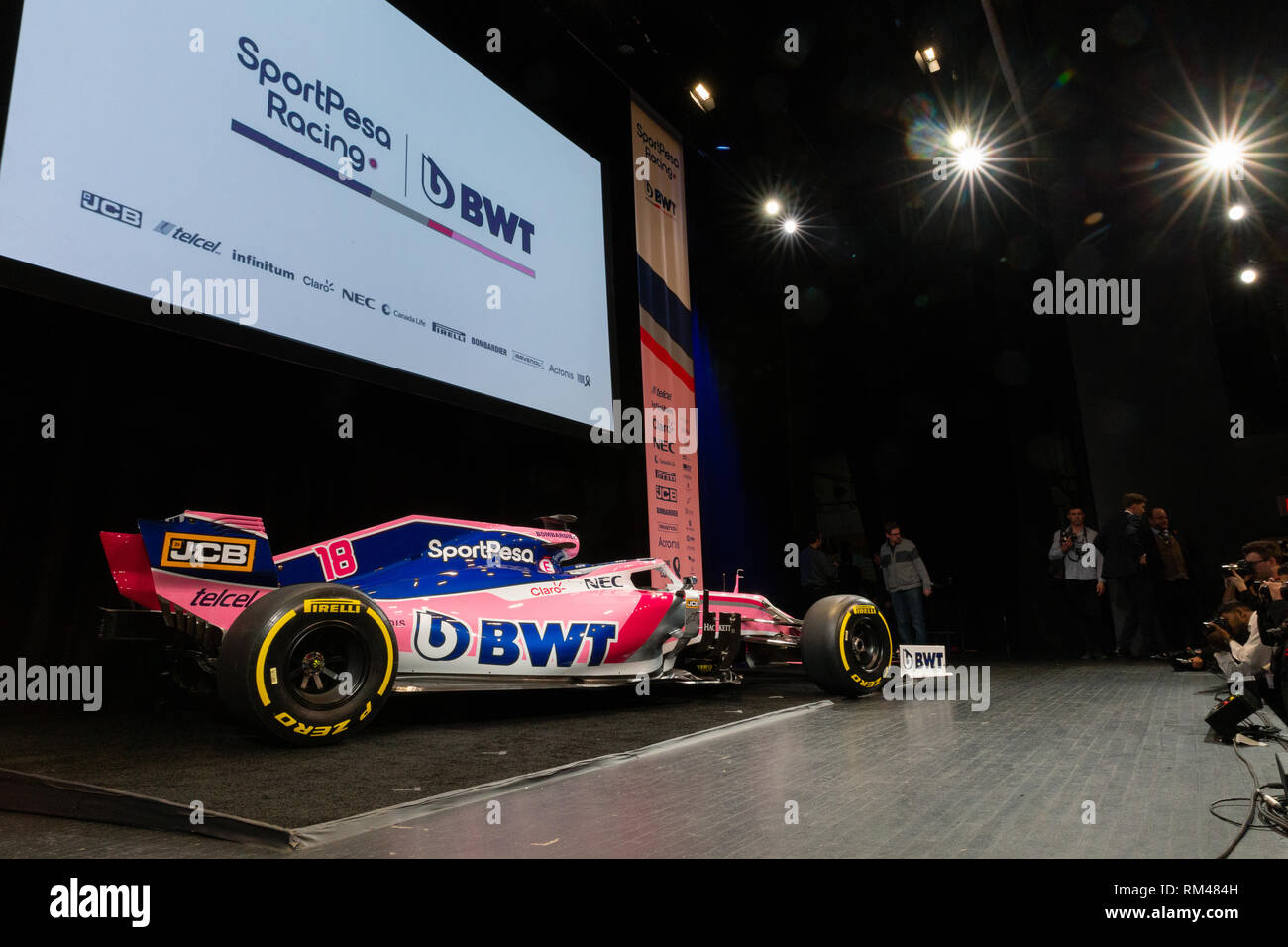 Toronto, Canada 13 Feb, 2019. SportPesa Racing Point F1 Team launch their 2019 car and livery at the John Bassett Theatre in Toronto, Canada. Credit: Gary Hebding Jr/Alamy Live News - Stock Image