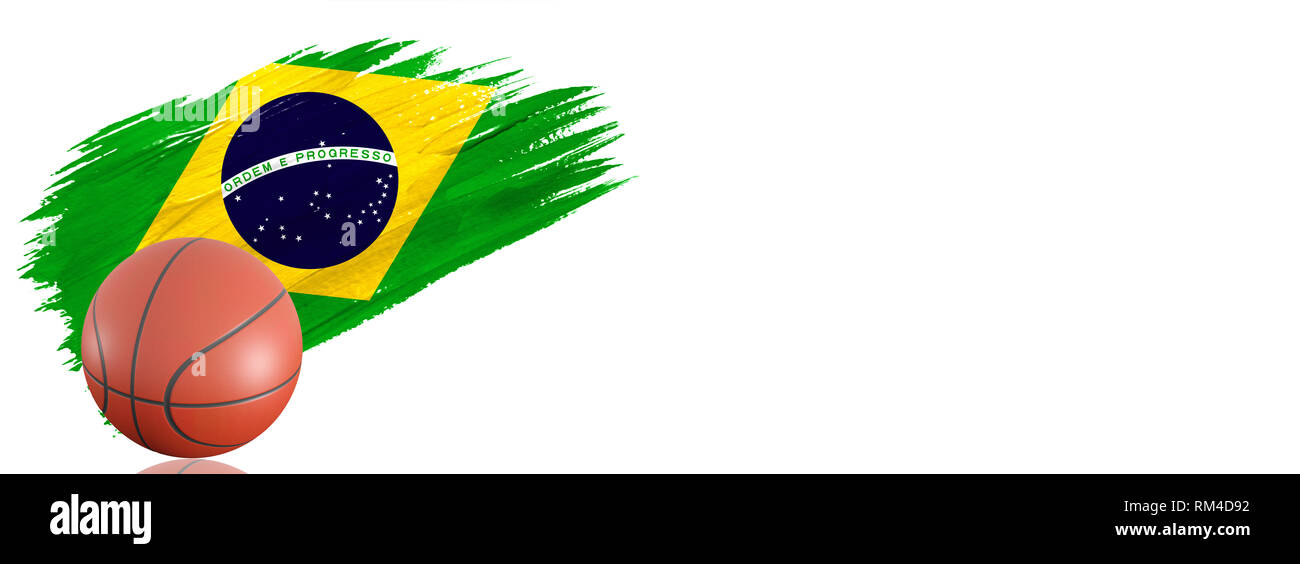 7a31ab490 Painted brush stroke in the flag of Brazil. Basketball banner with classic  design isolated on