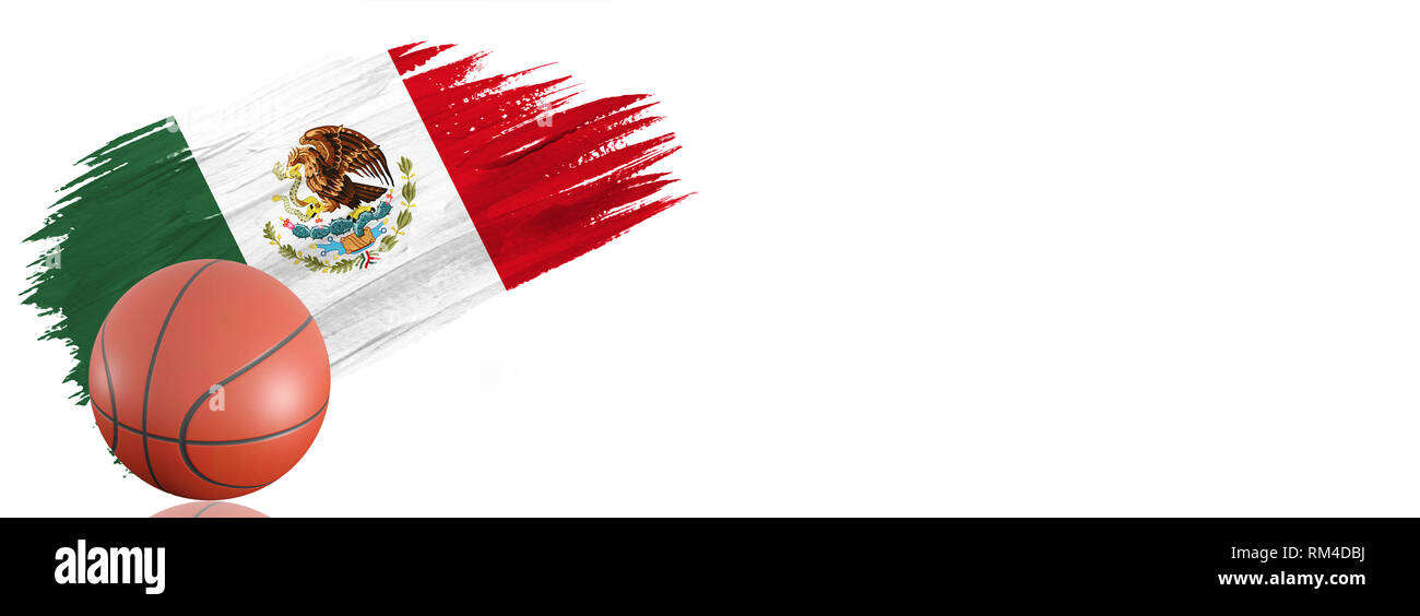 Painted brush stroke in the flag of Mexico. Basketball banner with classic design isolated on white background with place for your text. - Stock Image