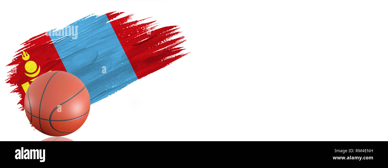 Painted brush stroke in the flag of Mongolia. Basketball banner with classic design isolated on white background with place for your text. - Stock Image