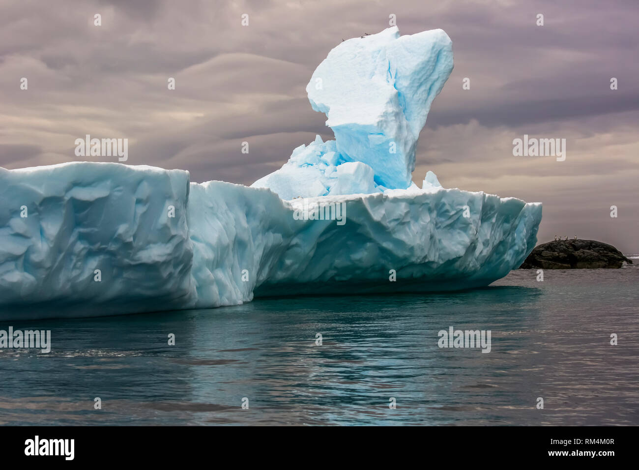 melting Iceberg with ice floe in foreground, floating in the sea, Antarctica - Stock Image