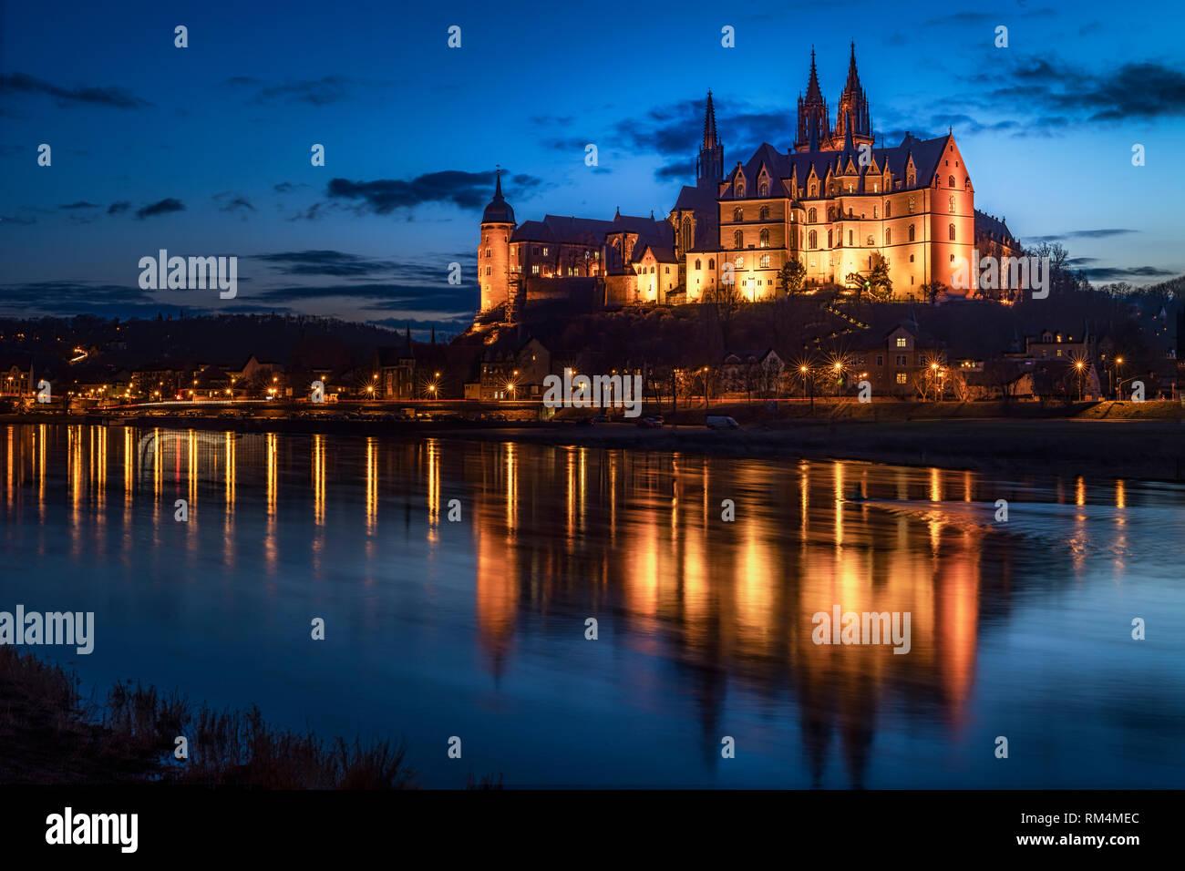 Schloss Albrechtsburg in Meißen am Abend - Stock Image