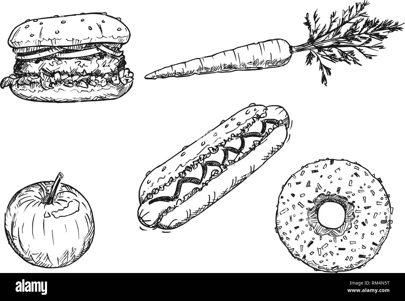 Cartoon Drawing Of Set Of Vegetable Fruit And Desserts Stock Vector