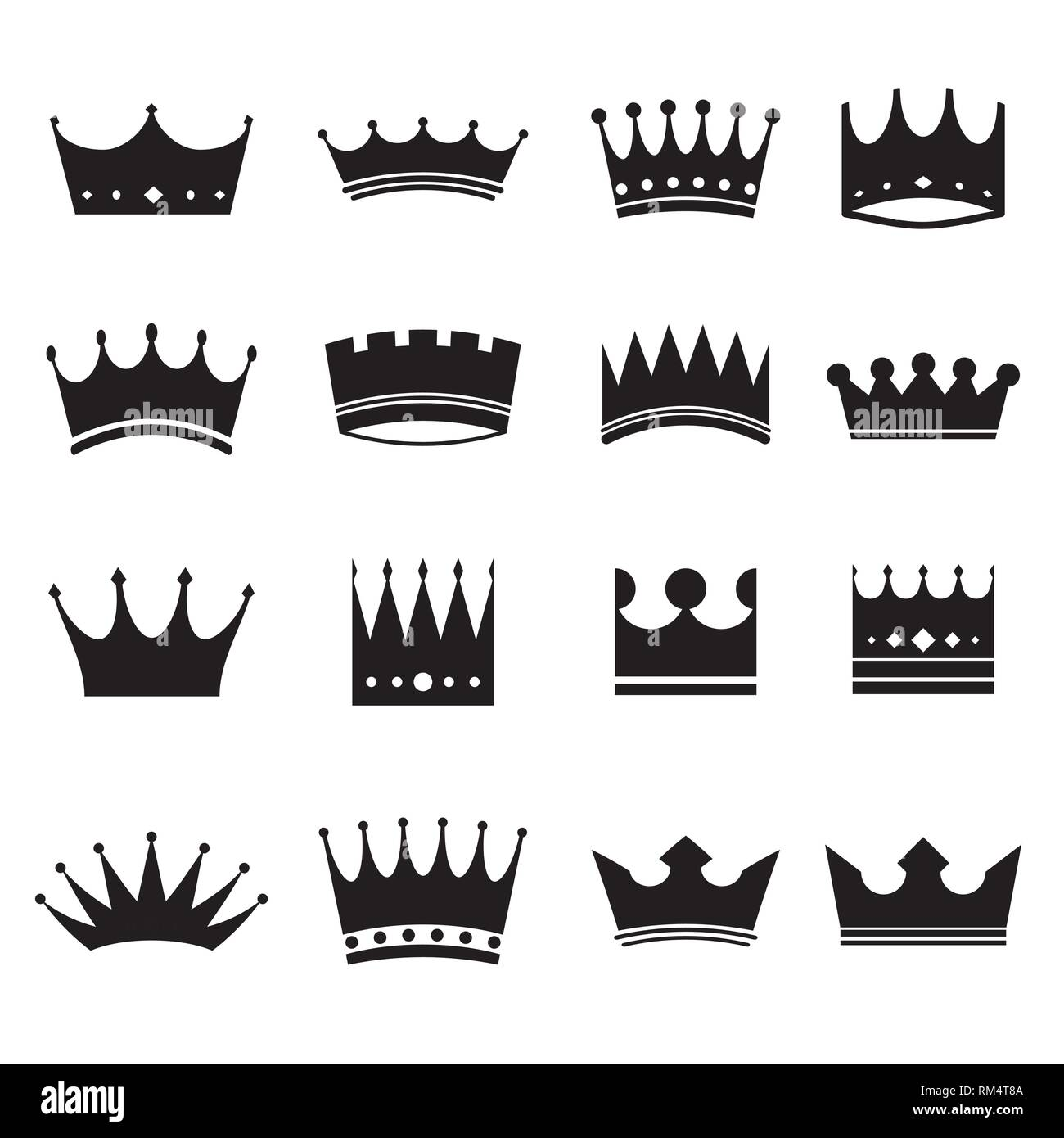 Set of modern crowns icons - Stock Vector