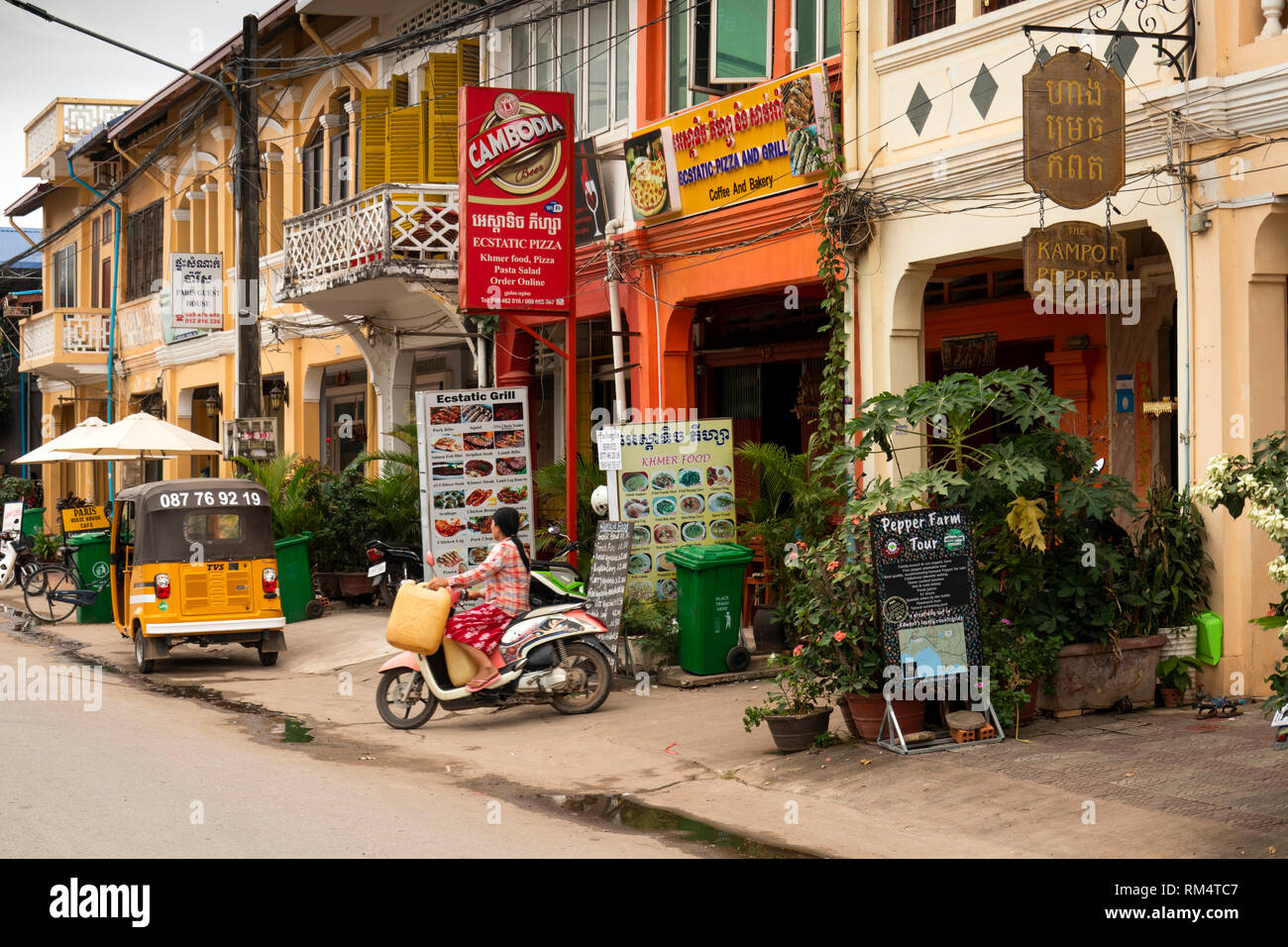 Cambodia, Kampot Province, Kampot city, Old Market area, Street 724, Kampot Pepper shop and restaurants Stock Photo