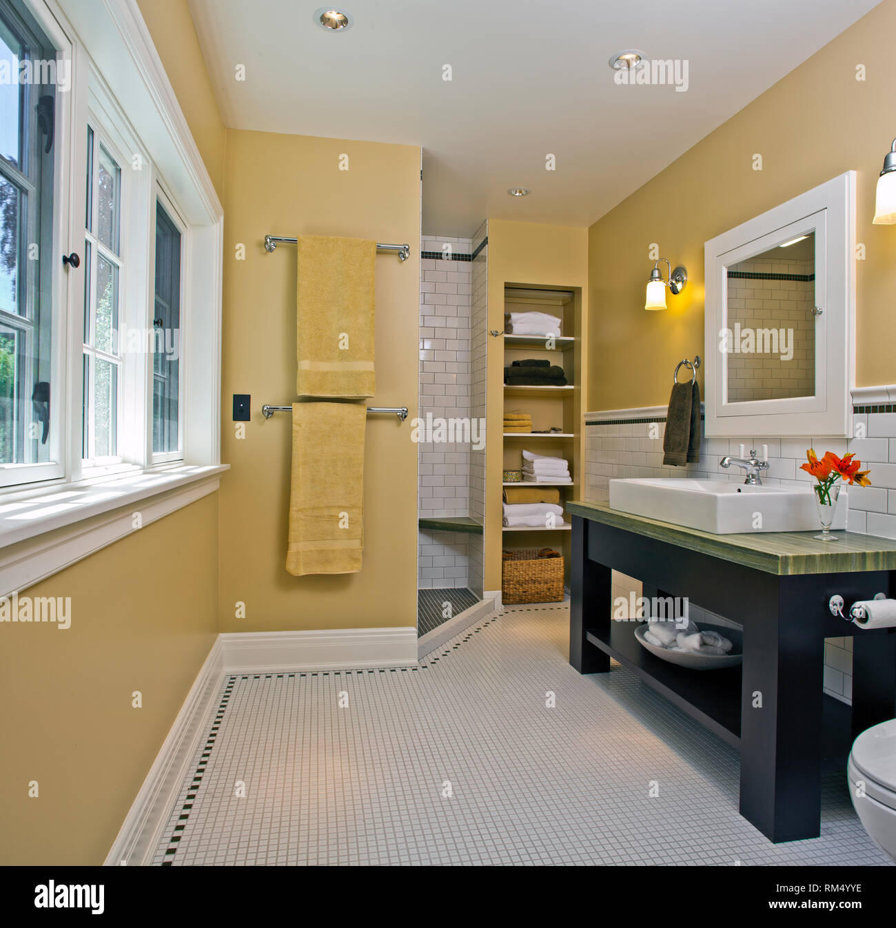 Modern Contemporary Bathroom with washbasin and shower room - Stock Image