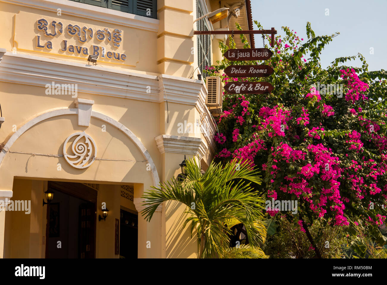 Cambodia, Kampot Province, Kampot city, La Java Bleue, heritage hotel in restored old French Colonial Building, architectural detail - Stock Image
