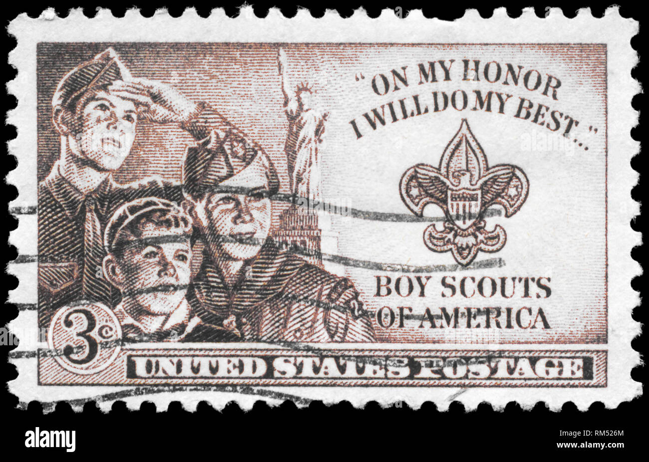 USA - CIRCA 1950: A Stamp printed in USA shows the Three Boys, Statue of Liberty and Scout Badge, circa 1950 - Stock Image