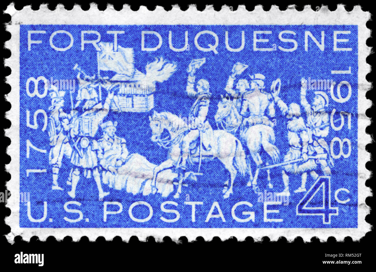 USA - CIRCA 1958: A Stamp printed in USA shows the Occupation of Fort Duquesne (Fort Pitt), bicentennial issue, circa 1958 Stock Photo