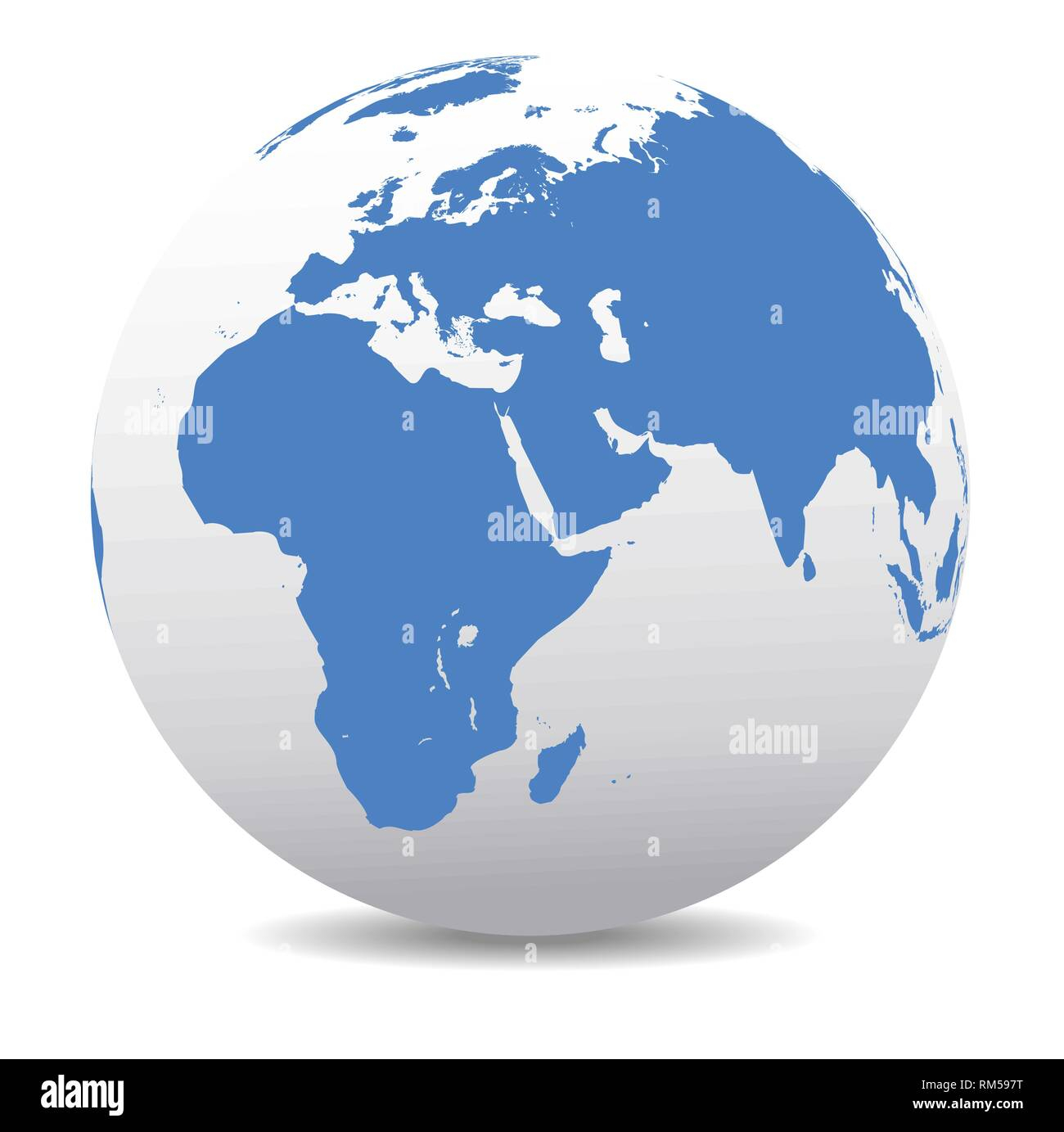 Africa, Middle East, Arabia and India Global World, Vector Map Icon of the world in Globe form - Stock Image