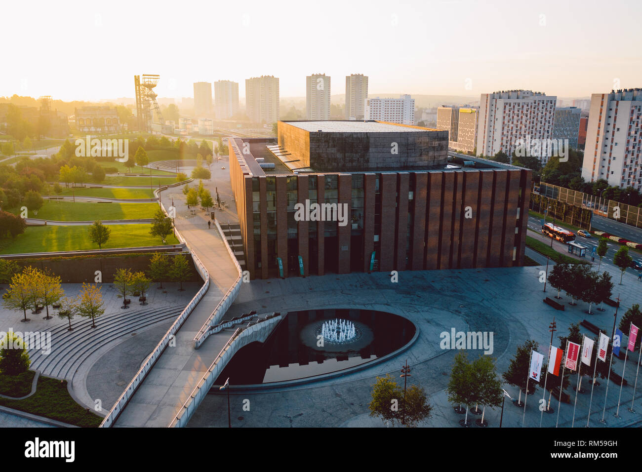 KATOWICE, POLAND - SEPTEMBER 18, 2018: Modern concert hall of The National Orchestra of Polish Radio located in a modern district of Katowice. Stock Photo