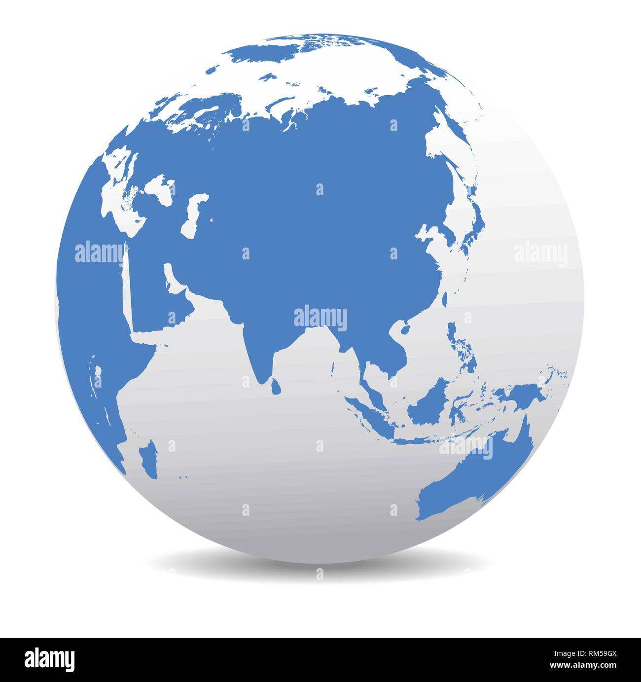 China, Thailand, Indonesia, India, Africa, Japan, Malaysia, Australia, Indian Ocean, Global World, Vector Map Icon of the World Globe - Stock Vector
